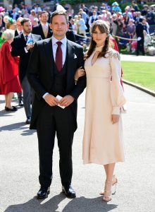 WINDSOR, UNITED KINGDOM - MAY 19: Actor Patrick J. Adams and wife Troian Bellisario arrive at St George's Chapel at Windsor Castle before the wedding of Prince Harry to Meghan Markle on May 19, 2018 in Windsor, England. (Photo by Ian West - WPA Pool/Getty Images)