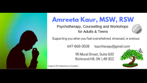 Amreeta Kaur, MSW, RSW (Psychotherapy & Counselling)